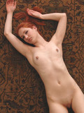 Red-haired fox showing her pale nude body