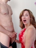 Curly haired daughter and her busty mom suck and fuck mature man's cock