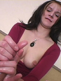 Bad girl shows her trimmed bush and then strokes the sperm out of dick