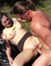 Brunette whore in boots gets her shaved pussy hammered right in the sun
