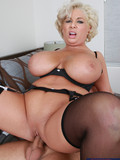 Good looking big jugged blonde mom in black dress gets banged by her son's friend
