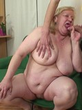 Skinny man fucks ugly plump granny in her aged pussy and cums on her face