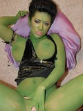 Ugly green girl gets her hairless painted pussy licked out and penetrated