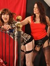 Hot kinky woman Jane makes her strap-on dildo disappear in tranny's asshole