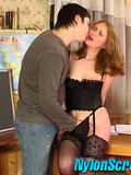 Woman in sexy black lingerie seduces handsome student guy into fucking
