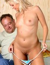 Arousing blonde done by bulky man
