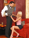 Cum hungry slim blonde gets naked in front of waiter after milking his cock