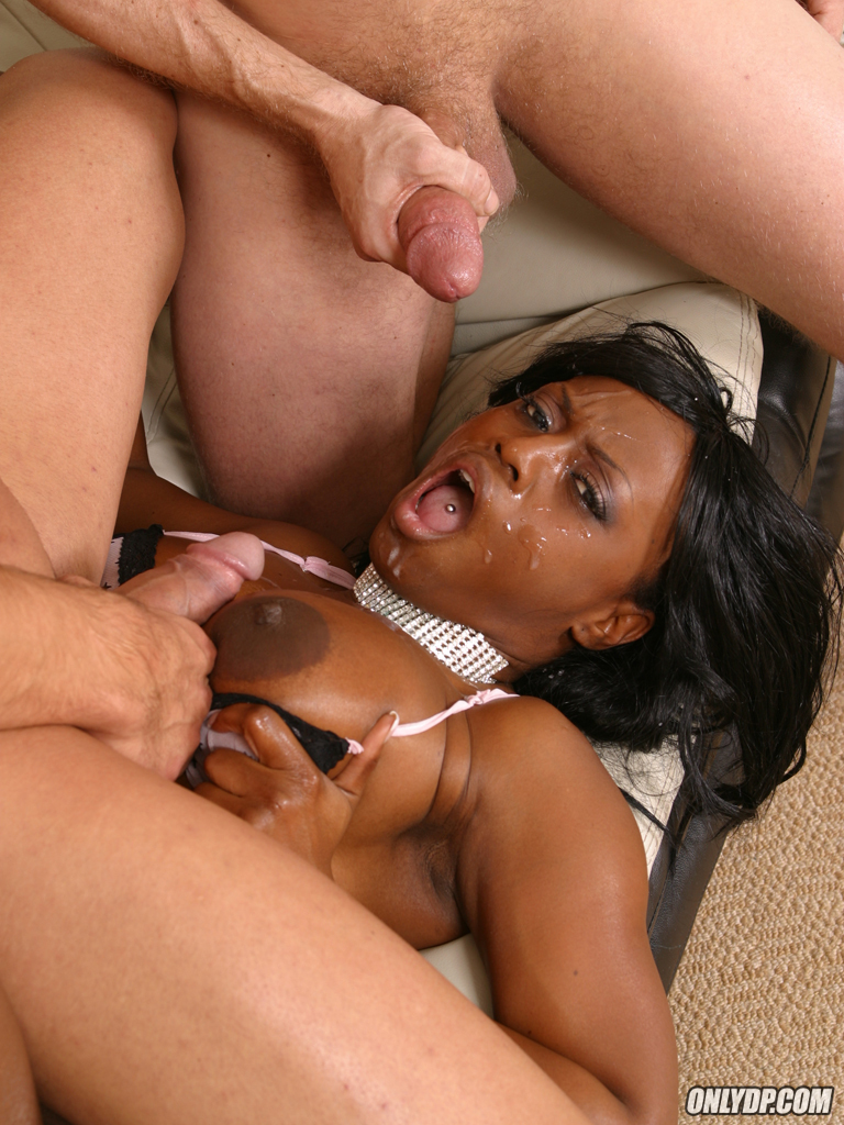 Vicious ebony chick with a big ass gets double penetrated with sticky facial  following