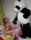 Nude girl with natural tits gets her smooth snatch fucked and creamed by hot Panda