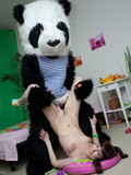 Pigtailed teen brunette gets her neat pussy fucked by Panda's pink dildo