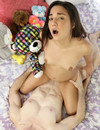 Flat chested pale skinned cutie with tiny pink nipples and bald pussy takes on cock