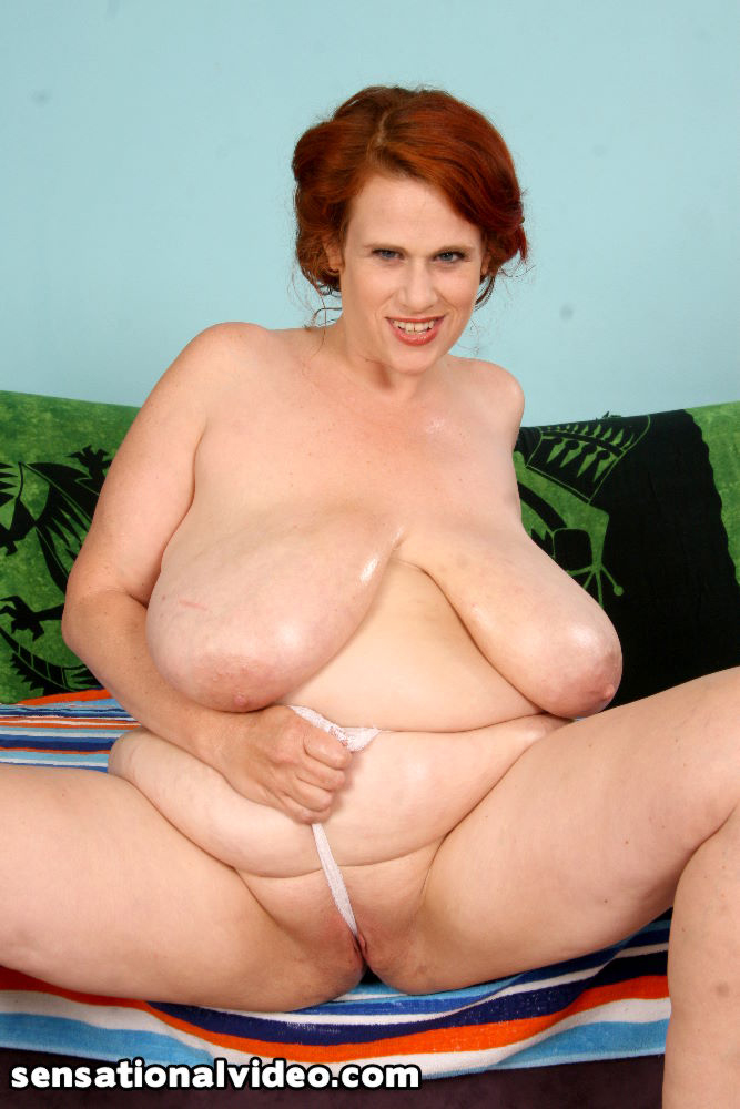 gigantic saggy tits - Red-haired chunky woman with gigantic saggy tits takes chest cumshot after  good fucking