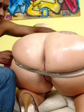 Blonde haired fattie with big oiled ass gets her love box filled with chocolate cock