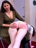Rude long haired brunette spanks redhead's pussy non-stop till her buttocks become cherry red