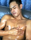 Wild Asian gay touching his body then crazily satisfying his dick having a hand