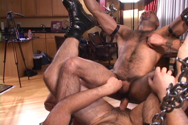 Gay leather sex sling
