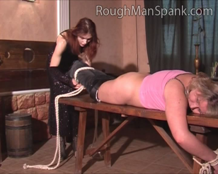 Two women spank man video