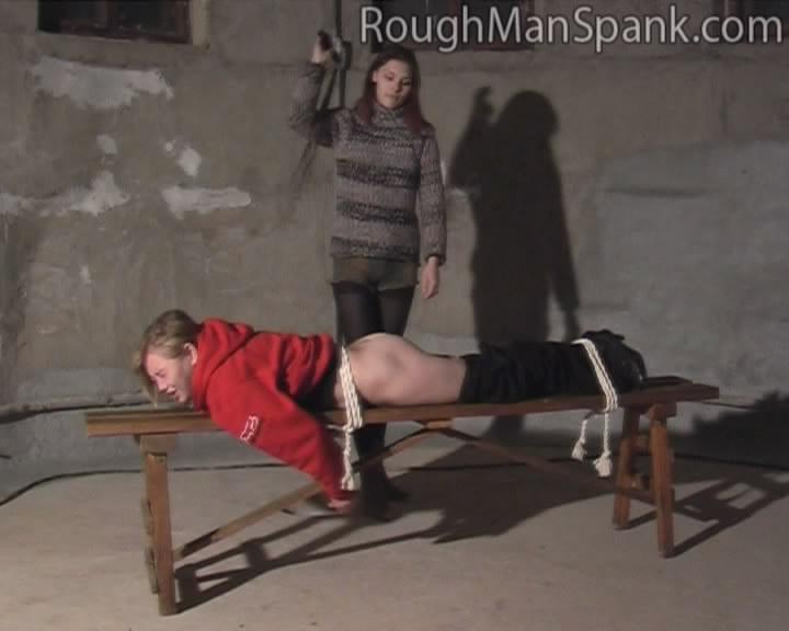 Rough man spank