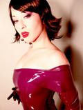 Latex dress peeled off her body
