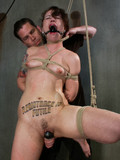 Tied up slave lady with trimmed pussy and perky as gets spanked and tortured