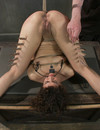 Tattooed naked rope tied slave girl gets caned and toy fucked with no mercy