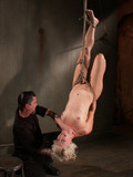 Ball gagged tied slave blonde loses her panties and gets her holes used