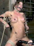 Sexy bodied slave babes with shaved pussies and nice tits gets tortured and fucked in the dungeon