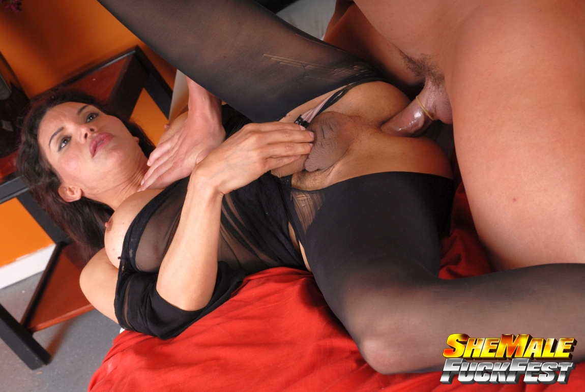 Sexy black nylon pantyhose sex tranny