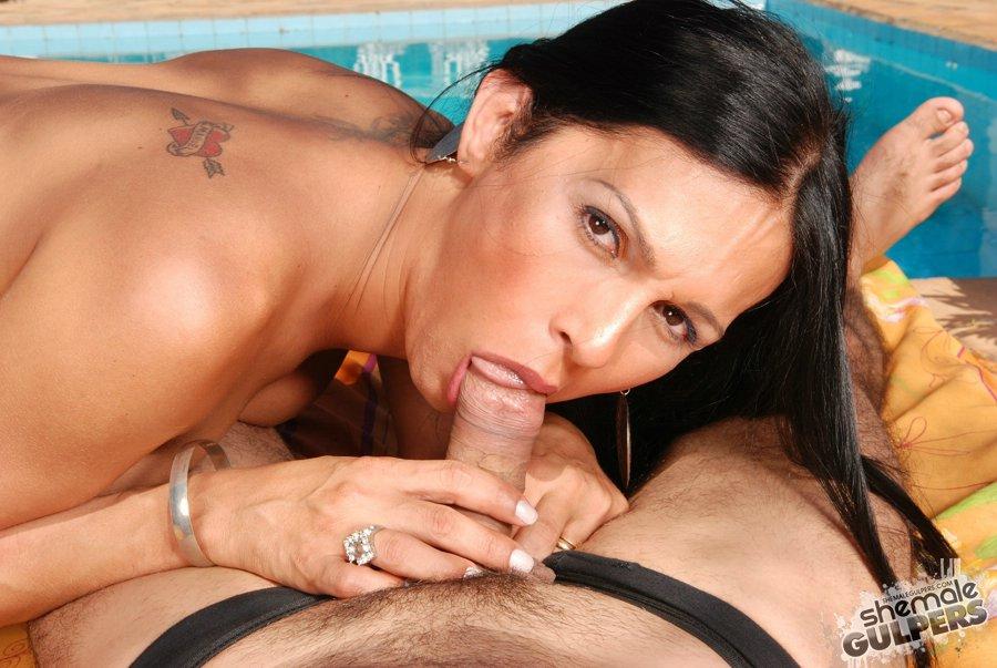 Sexy & tranny long dick reach lips the big