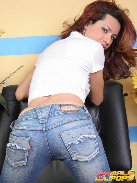 i find shemales attractive - Attractive shemale demonstrates her cock after she removes her blue jeans  and yellow panties