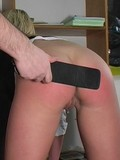 Poor chick has her firm apple looking butts crazily spanked by solid stuff