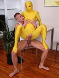Sex starved  chcik in yellow skinny spandex suit opens her long legs and gets nailed