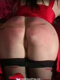 Blonde and brunette get their charming asses spanked side by side by the same man