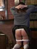 Disobedient schoolgirl gets her white panties pulled off and her ass spanked