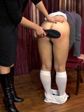 College girl puts on her white panties after she gets her charming ass spanked