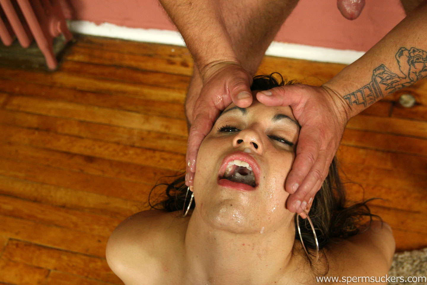 Among multiple men cum on her face and import