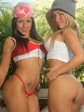 Two Latina chicks gladly showing their hot smooth bodies from every corner