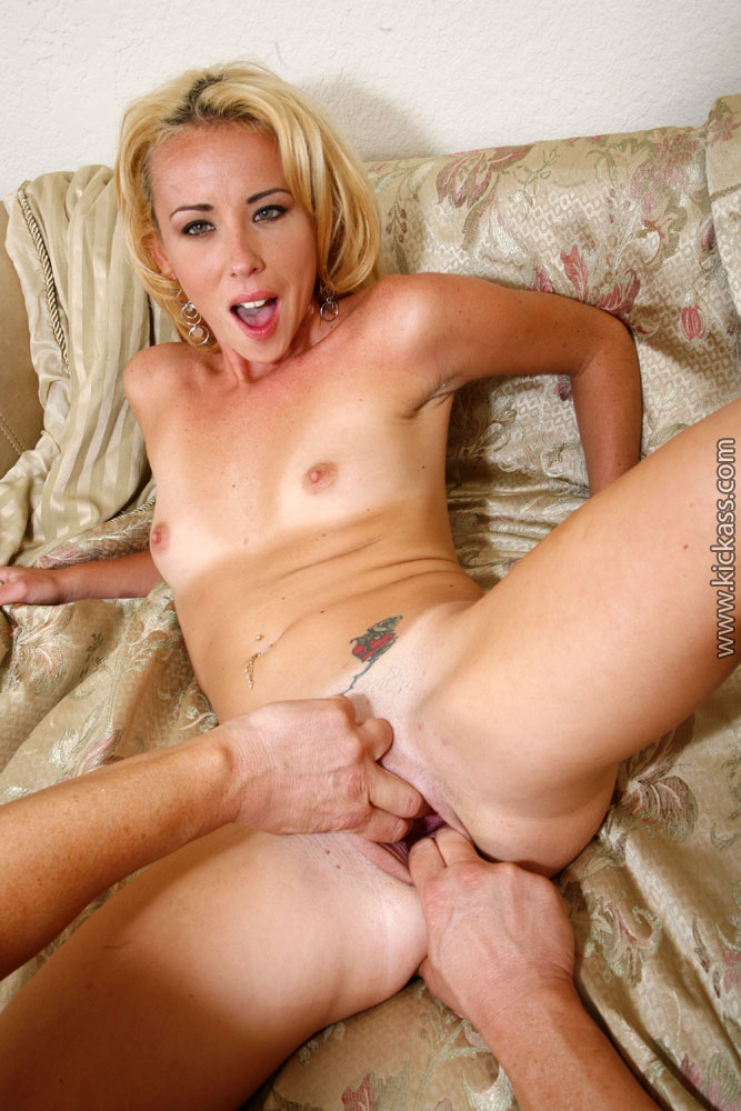 Slim blonde beauty with flat chest takes very thick hard ...