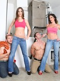 Two topless studly guys get humiliated by two long legged ladies in jeans