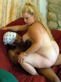 White mama Katie eating black cock
