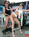 Long legged bitch in white high heels and sunshades gets her pussy banged outdoors