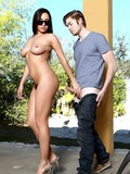 Breasty Bella Blaze bares it all in the locker room and gets her wet hole dicked
