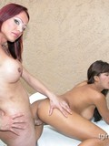Tanned brunette hottie gets royally fucked by pale skinned shemale redhead