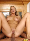 Attractive big titted cougar gives deep blowjob and takes heavy dick up her tight ass