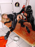 Hoes in rubber dildoing tight holes