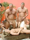 Hot bodied blonde babe gets fucked in every hole possible by all three guys