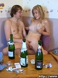 Nude drunken teen girl and her four-eyed buddy playing with each other
