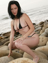 Cute faced raven haired milf with shaved crotch poses in black mini bikini