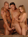Two bisexual dudes and one lady get naked and suck each other with passion