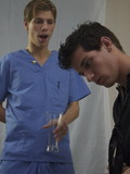 This patient crazily jerks off his hard member to get loads of creamy cum for an